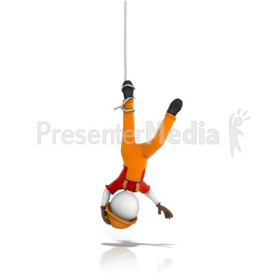 Worker Tangled Hanging Upside Down Presentation clipart