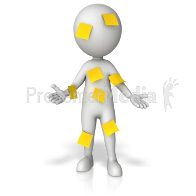 Figure Covered In Blank Notes Presentation clipart