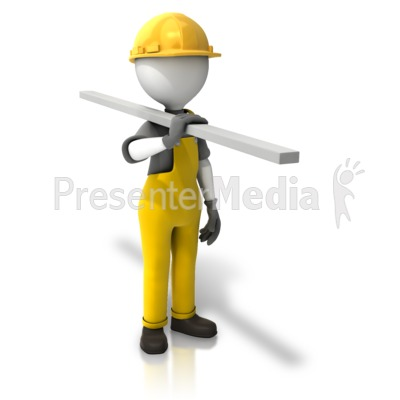 Construction Figure Carrying Wood Presentation clipart