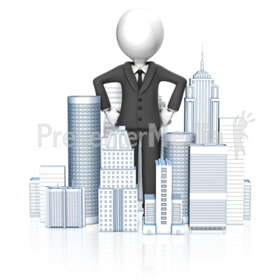 Business Man In City Presentation clipart