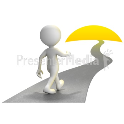 Figure Walking Into Sunset Presentation clipart