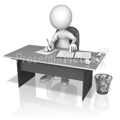 Figure Writing Drafts At Desk Presentation clipart