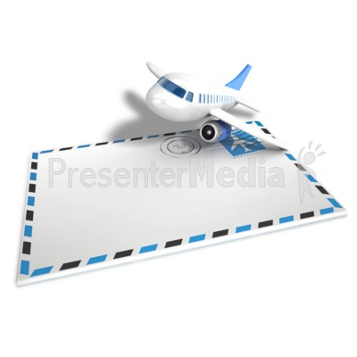 Airmail Airplane Envelope Presentation clipart