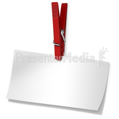 Clothespin Holding Blank Paper Note Presentation clipart