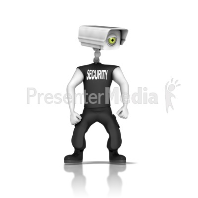 Guard With Security Camera Head Presentation clipart