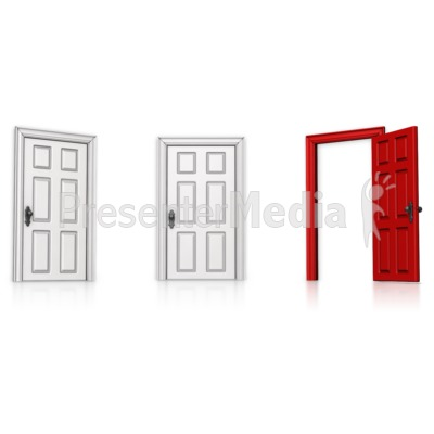 Choose Right Door Open Presentation clipart