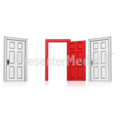 Choose Middle Door Open Presentation clipart