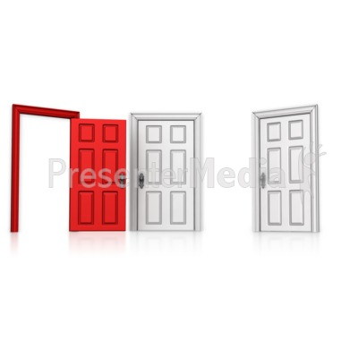 Choose Left Door Open Presentation clipart