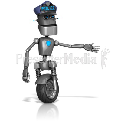 Robot Retro Cop Gesuture To The Side Presentation clipart