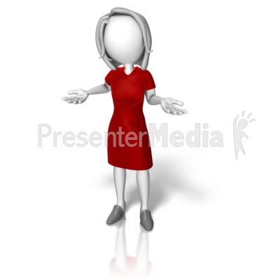 Business Woman Dress Shrugging Presentation clipart