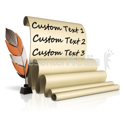 Feather Pen And Custom Scroll Presentation clipart