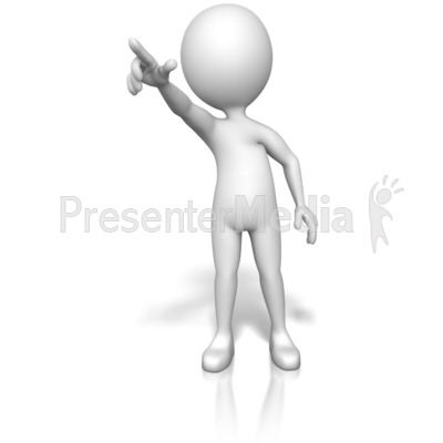 Figure Pointing Out Front Presentation clipart
