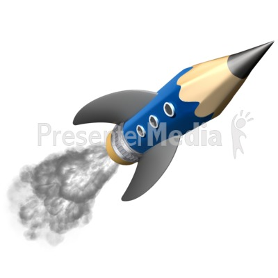 Pencil Education Rocket Presentation clipart
