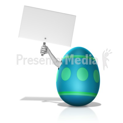 Arm Out Of Broken Egg Holding Sign Presentation clipart