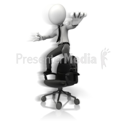 Figure Hang Ten On Chair Presentation clipart