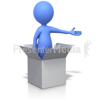Standing In Box Gesturing With Arm Presentation clipart