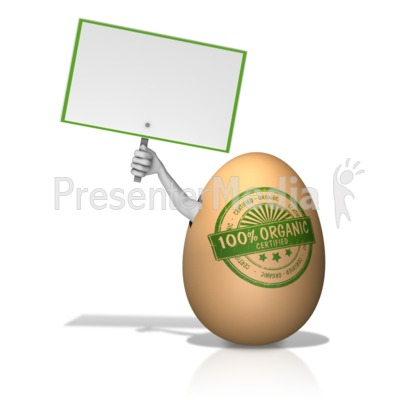 Organic Egg with Arm Holding Sign Presentation clipart