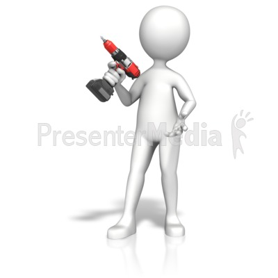 Figure Gripping Cordless Drill Presentation clipart
