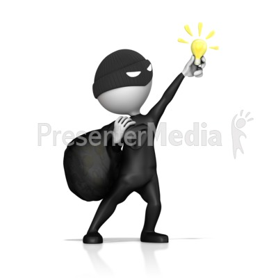 Thief Steal Idea Light Bulb Presentation clipart