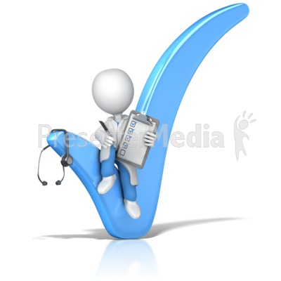 Doctor or Nurse Sitting In Check Mark Presentation clipart