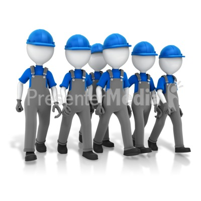 Construction Crew Walking Presentation clipart