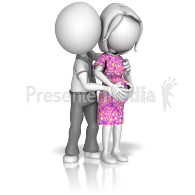 Man Holding Pregnant Woman Presentation clipart