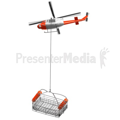 Rescue Helicopter With Lowered Basket Presentation clipart