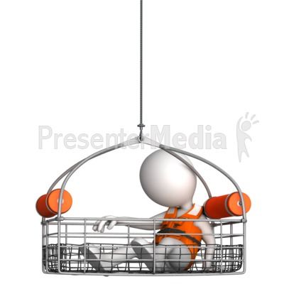 Figure In Water Rescue Basket Presentation clipart