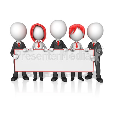 Business Worker Group Holding Long Sign Presentation clipart
