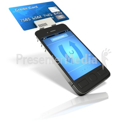smart phone credit card reader business and finance great clipart for presentations wwwpresentermediacom - Credit Card Swiper For Phone