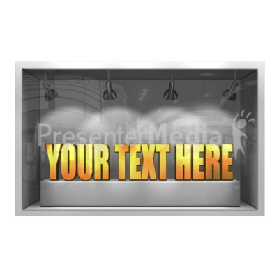 Glass Window Display 3D Text Presentation clipart