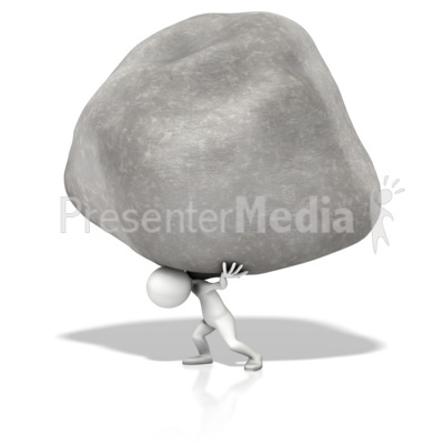 Figure Holding Up Rock Presentation clipart