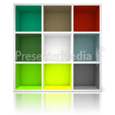 Colored Container Shelving Unit Presentation clipart