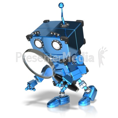Boxy Robot Searching Presentation clipart