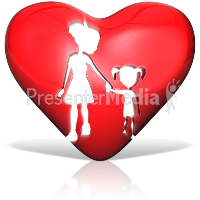 Mother Daughter Heart Silhouette Presentation clipart