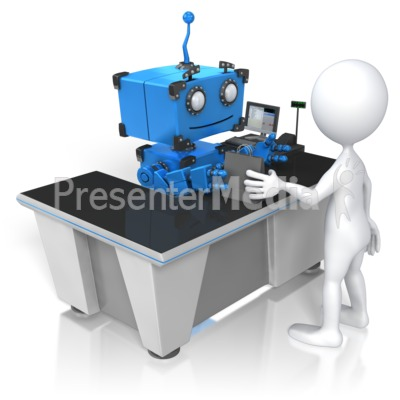 Robot Check Out Presentation clipart