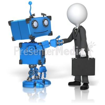 Robot Business Handshake Presentation clipart