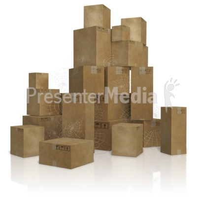 Pile of Old Slow Moving Inventory Boxes Presentation clipart