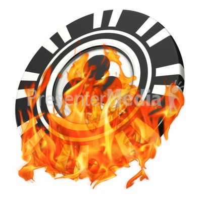 Gambling Poker Chip On Fire Presentation clipart