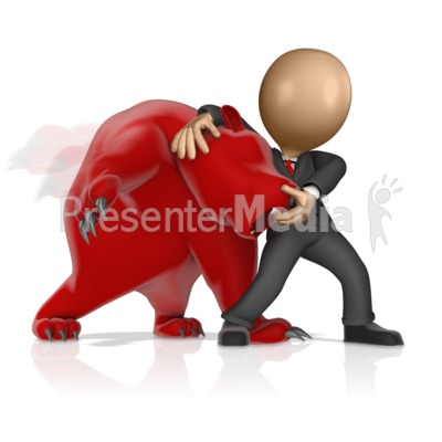 Business Figure Wrestling Bear Presentation clipart