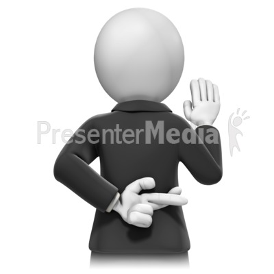 Swearing In Crossed Fingers Presentation clipart