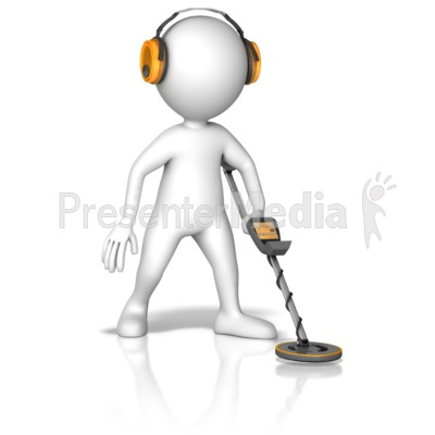 Figure Searching With Metal Detector Presentation clipart