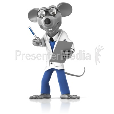 Lab Rat with Pen and Clipboard Presentation clipart