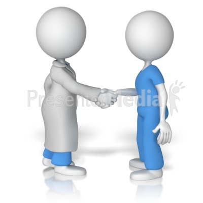 Doctor Shake Hands With Nurse Presentation clipart