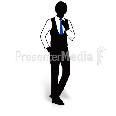 Businessman Silhouette Adjust Tie Presentation clipart