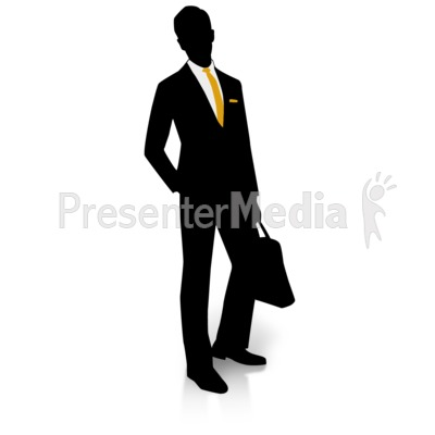 Businessman Silhouette Pocket Presentation clipart