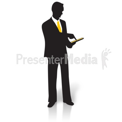 Businessman Silhouette Tablet Presentation clipart