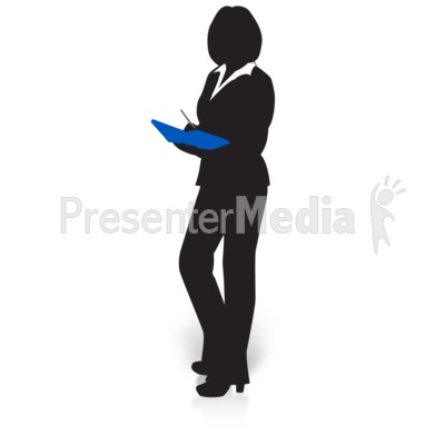 Businesswoman Silhouette Book Presentation clipart