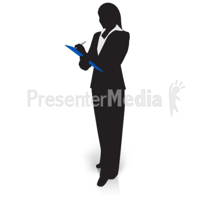 Businesswoman Silhouette Clipboard Presentation clipart