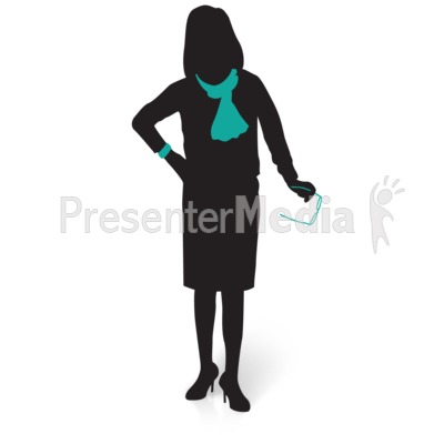 Businesswoman Silhouette Glasses Presentation clipart